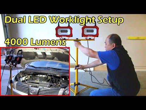 Dual LED Worklight Setup - Super Bright 4000 Lumens