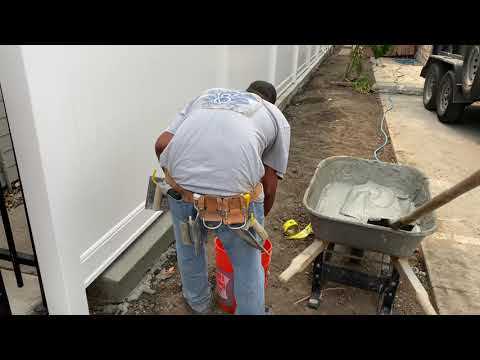 Vinyl Fence with Concrete Curb - TheHardscapeHandymen - Whittier, CA