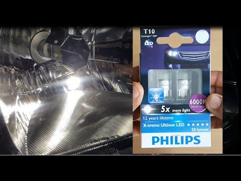 Philips X-treme Ultinon T10 LED bulb Brightness vs Halogen T10 bulb
