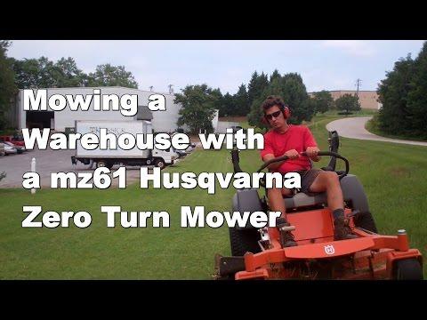 Mowing a Warehouse with Mz61 Husqvarna Zero Turn Mower