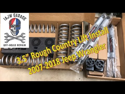 "3.5"" inch Rough Country Lift Kit Install 2007-2018 Jeep Wrangler JK JKU - It's a Jeep World (DIY)"